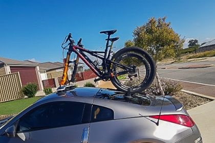 Nissan-350z Bike Rack with a SeaSucker Mini Bomber