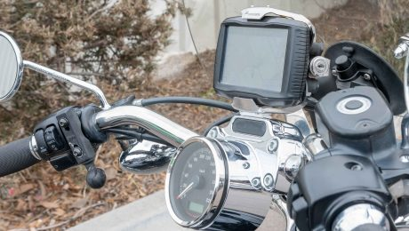 Garmin GPS mounted on top of the handlebars of a Harley Davidson