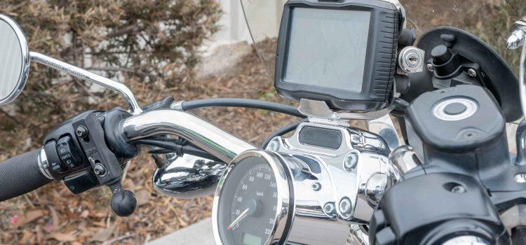 Garmin GPS mounted on top of the handlebars of a Harley Davidson